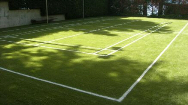 Line Painting on Turf Badminton Court